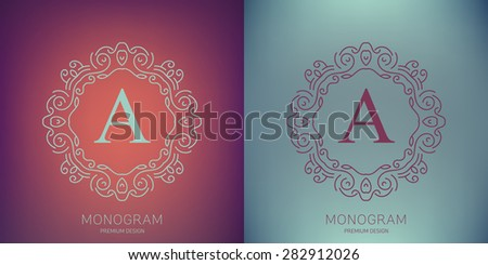 Abstract creative concept vector logo of retro monogram isolated on background. Art illustration template design for restaurnat, cafe, hotel, real estate, wedding and spa elegant cute fine emblem. - stock vector