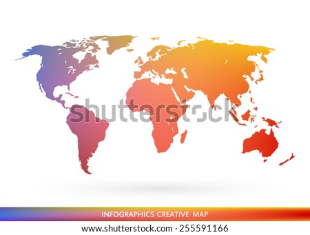 Abstract creative concept vector map of the world for Web and Mobile Applications isolated on background. Vector illustration, creative template design, Business software and social media, origami. - stock vector