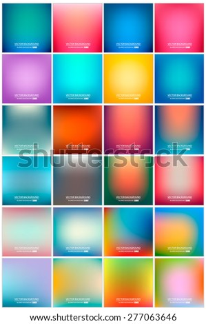 Abstract Creative concept vector multicolored blurred background set. For Web and Mobile Applications, art illustration template design, business infographic and social media, modern decoration. - stock vector