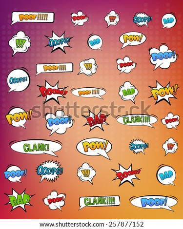 Abstract Creative concept vector pop art style set of comic text template with clouds beams and isolated dots pattern on background. For Web and Mobile Applications, illustration template design.  - stock vector