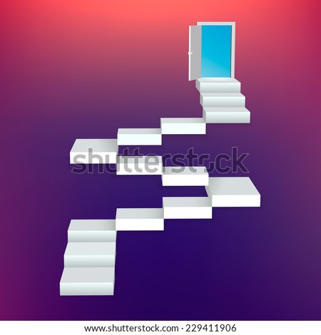 Abstract creative concept vector staircase with door for Web and Mobile Applications isolated on background. Vector illustration, creative template design, Business software and social media, origami. - stock vector