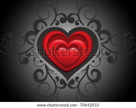 abstract creative floral background with romantic heart - stock vector