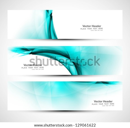 Abstract creative header blue wave whit vector design - stock vector