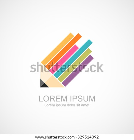 Abstract creative pencil symbol icon. - stock vector