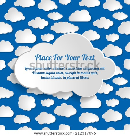 Abstract Creative seamless concept vector clouds collection on a blue background - stock vector