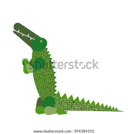 Abstract crocodile pray isolated on white background. Vector illustration.