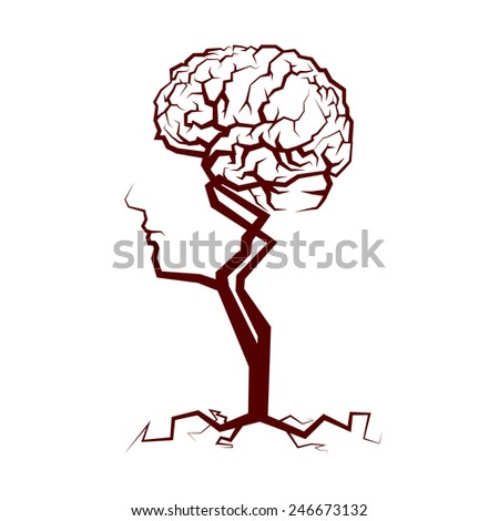 Abstract Crown of the Tree Shape of a Human Head and Brain. Vector Illustration - stock vector