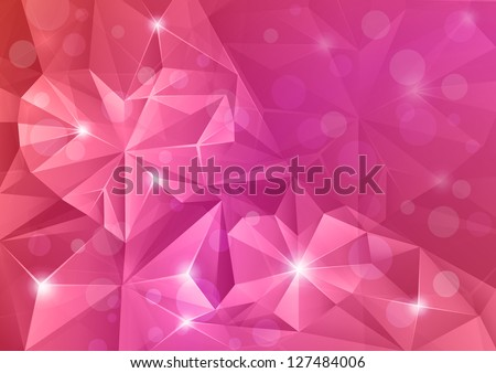 Abstract crystal background with hearts. - stock vector