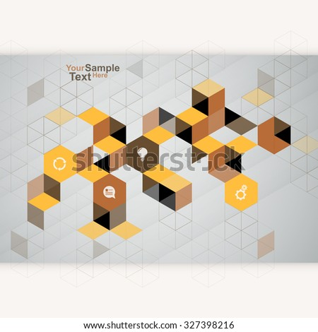 Abstract Cube Design Template brown - stock vector