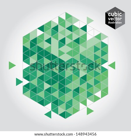 Abstract cube green design element. Layered file - stock vector