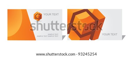 Abstract Cube Letter A Business Card Set EPS 8 vector, grouped for easy editing. No open shapes or paths. - stock vector