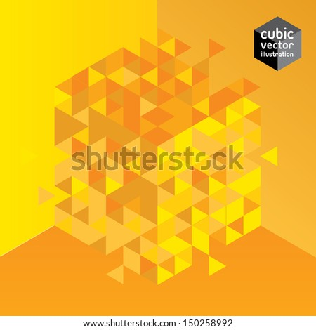 Abstract cube yellow design element. Layered file - stock vector