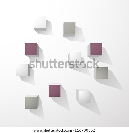Abstract cubes wall background - stock vector