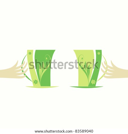 Abstract cups and hands isolated on white background
