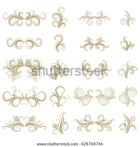Abstract curly design element set isolated on white background. Dividers. Swirls. Vector illustration. - stock vector