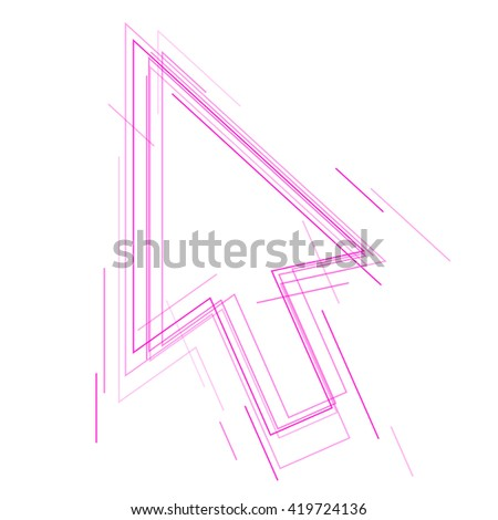 Abstract cursor arrow sign. Vector concept illustration of computer pointer symbol. Idea of power, energy, dynamic, digital technology. Background design element for brochure, banner, social networks. - stock vector