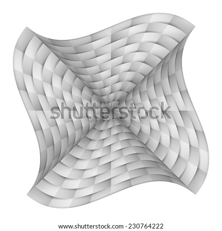 Abstract curved chequered background in shades of white - stock vector