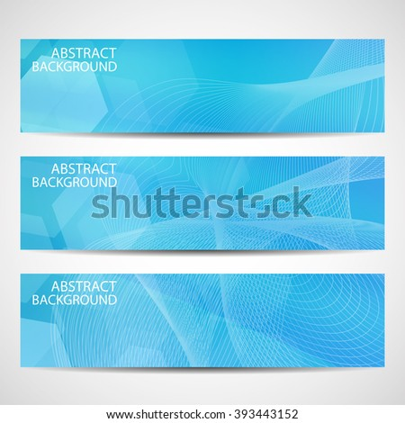Abstract curved lines on blue background. Vector illustration - stock vector