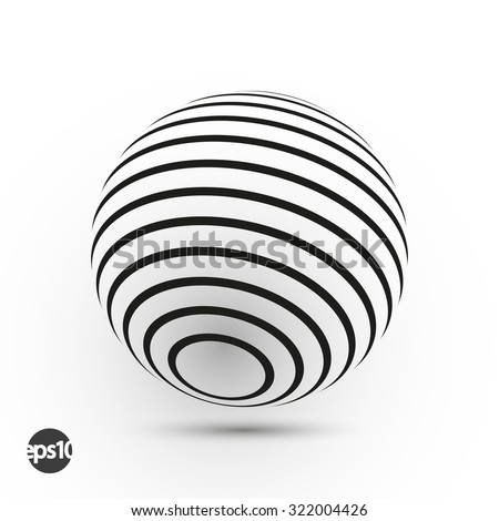 Abstract curved lines sphere. Business logo element. Vector background - stock vector