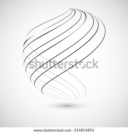 Abstract curved lines. Vector background - stock vector