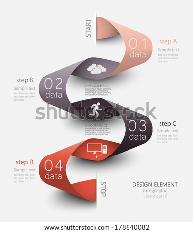 abstract curved waves tape, vector illustration for business seminars, presentation of data, web element - stock vector