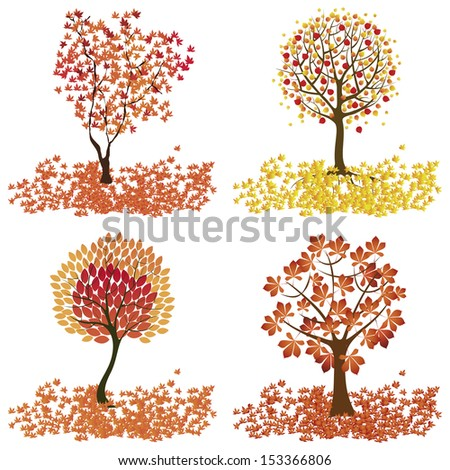 Abstract cute autumn trees on white background