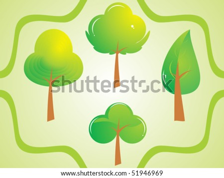 abstract cute beautiful green tree set vector illustration