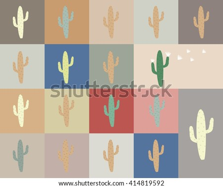 Abstract cute cactus and cactus flower with color square design background, pattern seamless background background wallpaper. Vector image