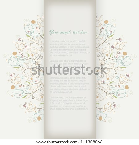 Abstract cute doodle brochure beauty template card with your text for background, backdrop, frame, gift, invitation, illustration, art texture, retro banner, design element, poster vector set eps 10 - stock vector
