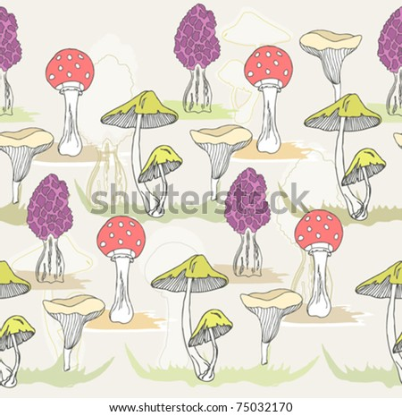 Abstract cute seamless colorful mushroom pattern