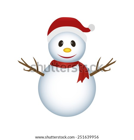 abstract cute snowman on a white background - stock vector