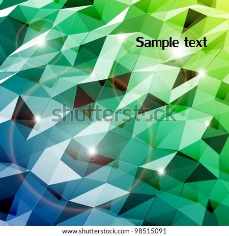 Abstract cyan background. Combination of triangle. Vector - stock vector
