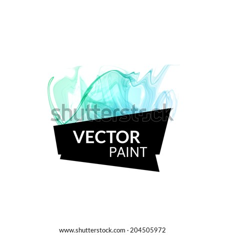 Abstract cyan green digital watercolor ink, virtual technology splash paint isolated on white background - stock vector