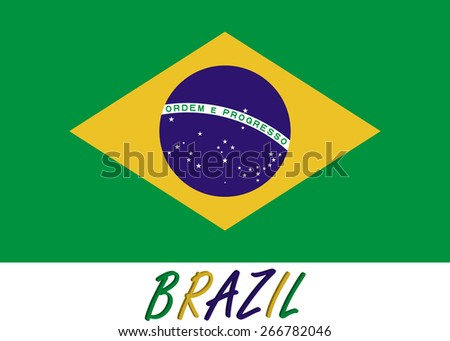 Abstract 3D background of Brazil flag with the country's name colored with the flag color in a same order - stock vector