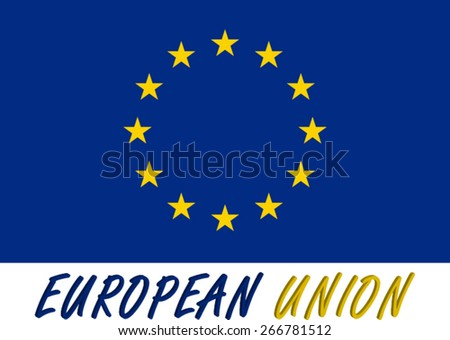 Abstract 3D background of European Union flag, a conceptual three dimensional design of the European Union flag with its name colored with the flag colors, blue and yellow - stock vector
