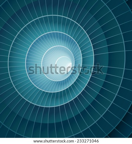 Abstract 3d blue spiral tunnel. Vector illustration - stock vector