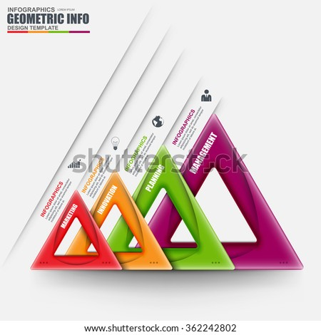 Abstract 3D business geometric Infographic. Can be used for workflow layout, data visualization, business concept with 4 options, parts, steps or processes, banner, diagram, chart, web design. - stock vector