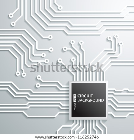 Abstract 3D circuit board cpu Design - stock vector