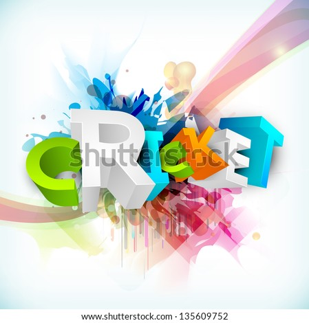Abstract 3D colorful text Cricket on grungy wave background. - stock vector