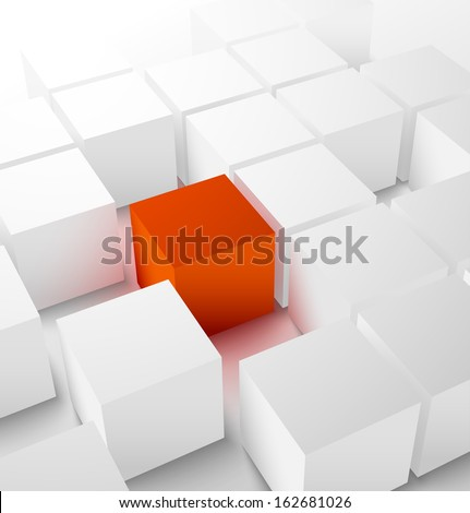 Abstract 3D cubic background with red glowing cube . Vector illustration - stock vector