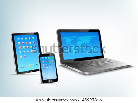 Abstract 3d devices: Tablet pc, laptop, smartphone vector perspective view. Notebook, mobile phone, touchpad. - stock vector