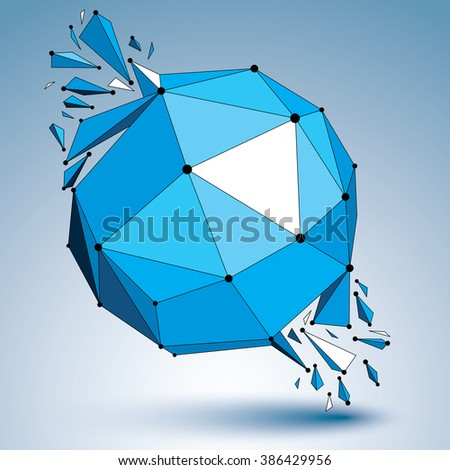 Abstract 3d faceted blue figure with connected black lines and dots. Vector low poly shattered design element with fragments and particles. Explosion effect. - stock vector