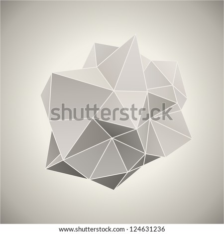 Abstract 3D form in vintage color vector illustration. - stock vector