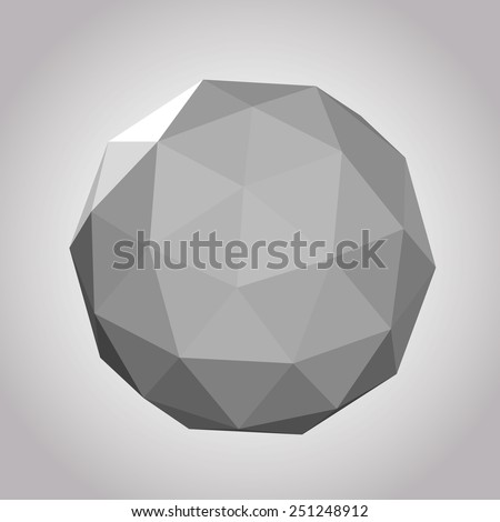 Abstract 3D form in vintage geosphere color vector illustration. - stock vector