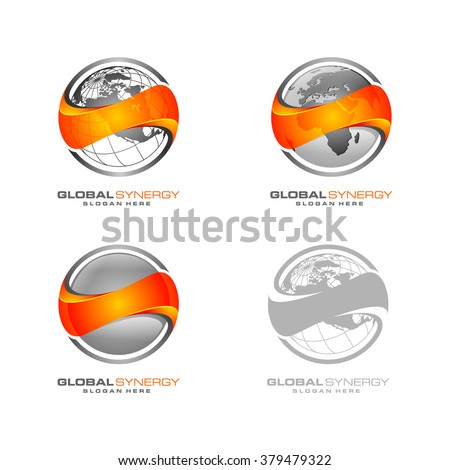 abstract 3D global logo with sphere and orange letter s infinity synergy vector logo design - stock vector
