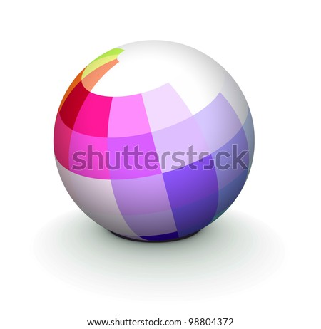 Abstract 3D globe icon made from color ribbons. - stock vector