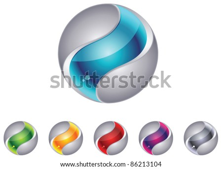 Abstract 3d globe sphere set - stock vector