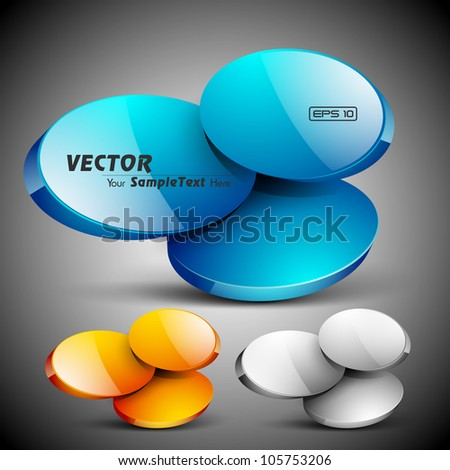 Abstract 3D glossy icon set in yellow, blue and grey color, isolated on grey with text space.EPS 10. can be use as icons, element, banner or background. - stock vector