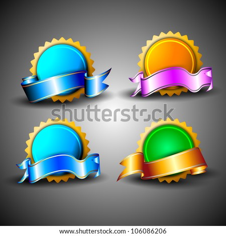 Abstract 3D glossy icon sets in blue, green and yellow color with ribbons, isolated on grey with text space.EPS 10. can be use as icons, element, banner or background. - stock vector