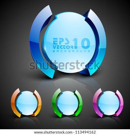 Abstract 3D glossy icon sets in yellow, blue, green or pink color with blue color combination, isolated on grey with text space.EPS 10. can be use as icons, element, banner or background. - stock vector